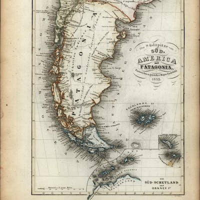 Patagonia South America 1853 Meyer detailed map   Continent & Regional