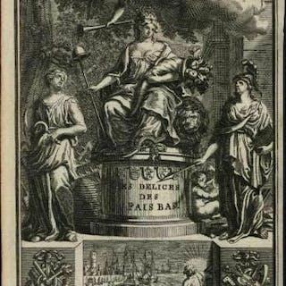 Allegorical gods Netherlands sailing ships Europe 1720 charming frontis print