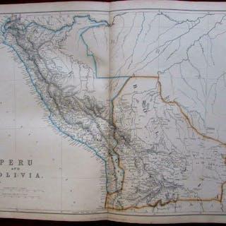 Peru & Bolivia South America 1860 Lowry detailed uncommon...