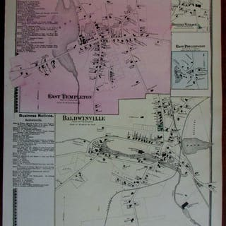 Templeton Baldwinville Brooks Village 1870 Worcester Co. Mass. detailed map