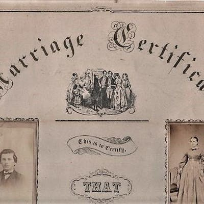 1866 REAL-PHOTO MARRIAGE CERTIFICATE OF CYRUS MOORE AND LUCINDA HOUSER