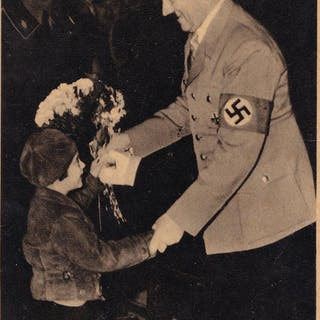 Adolf Hitler Giving Flowers To Child In Procession Old...