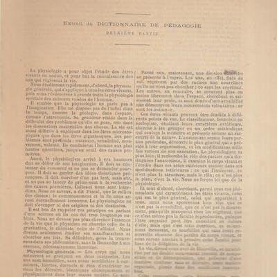 """""""Physiologie"""" Tiré à part extrait du Dictionnaire de Pédagogie Paul Bert"""