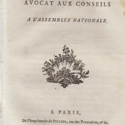 Adresse d'un Avocat aux Conseils à l'Assemblée Nationale.