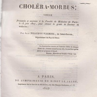 Du Choléra-Morbus ; Thèse présentée et soutenue à la...