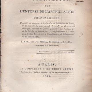 Dissertation sur l'Entorse de l'Articulation...