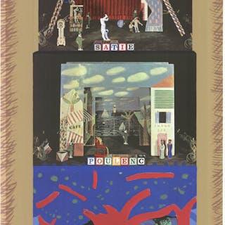 David Hockney-Parade- Metropolitan Opera-1982 Mixed Media Hockney, David 52