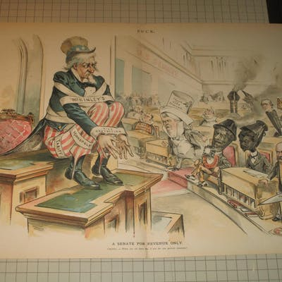 "1894 Puck Lithograph of ""A Senate For Revenue Only""..."
