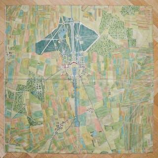 Grosser kolorierter Kupferstichplan von Nymphenburg und Umgebungen in 4 Teilen