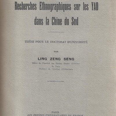 Recherches ethnographiques sur les Yao dans la Chine du Sud