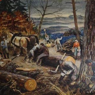 Schulwandbild Nummer 46: Reinhold Kündig: Holzfäller.   Schulwandbilder