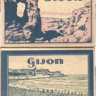 Gijon. Serie I y serie II. Dos bloques de 20 tarjetas postales desplegables