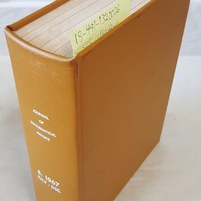 Journal of Mathematical Physics Volume 8 July-December Montroll