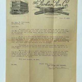 Carta comercial del año 1912 firmada a mano por George Safford Parker