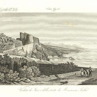 Veduta di Iaci e dello Stretto di Messina in Sicilia Zuccagni - Orlandini edit