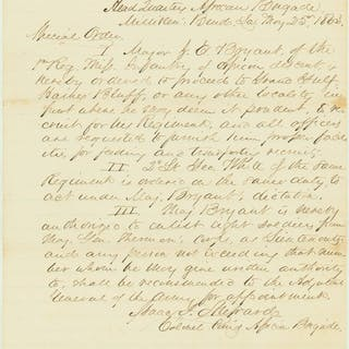 Col. Isaac Shepard Authorizes Recruitment of 1st Mississippi Regt