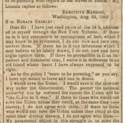 A Confederate Newspaper Prints Lincoln's Response to...