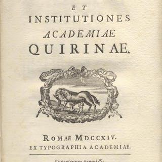 LEGES ET INSTITUTIONES ACADEMIAE QUIRINAE. Accademia Quirina.