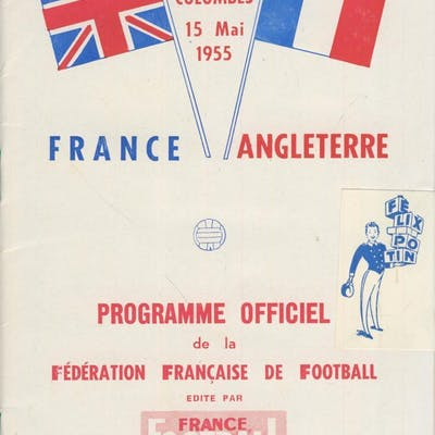 FRANCE V ENGLAND 1955 FOOTBALL PROGRAMME