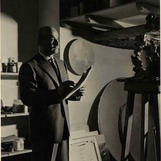 Lucio Fontana nel suo studio, Milano 1959 FONTANA Lucio FOTOGRAFIA