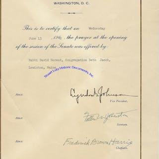 A Senate Document Honoring A Rabbi Who Gave The Opening Prayer (JUDAICA)