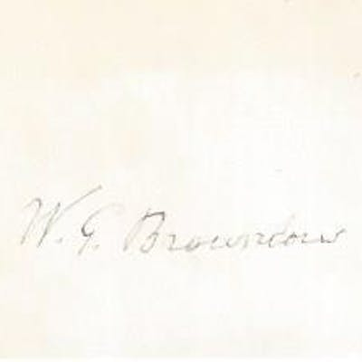 """W. G. Brownlow, Autograph on Card Brownlow, William G. """"Parson"""""""