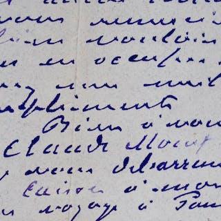 Belle lettre de Monet à Hamman Monet Claude 1840 1926