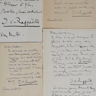 Quatre lettres et billets du peintre Raffaëlli Raffaëlli Jean-François 1850 1924