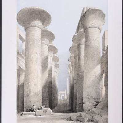 Portico of the Temple of Kalabshi David Roberts Antique Print,Egypt,Travel