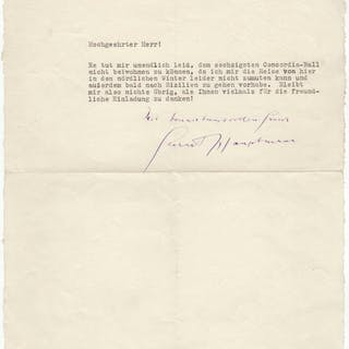 Typed letter signed by the Nobel prize winner Hauptmann
