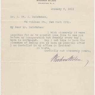 Typed letter signed Wilson, Woodrow (1856-1924) US Presidents