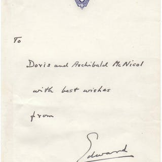 Autographed note signed Edward VIII., King (1894-1972) Royalty
