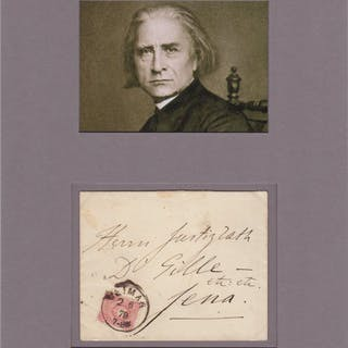 Autographed envelope matted with photograph Liszt, Franz (1811-1886) Music