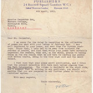 Fine typed letter signed with interesting literary content Eliot