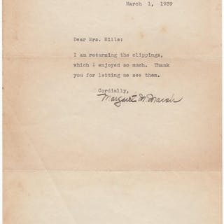 Fine typed letter signed Mitchell, Margaret (1900-1949) Literature