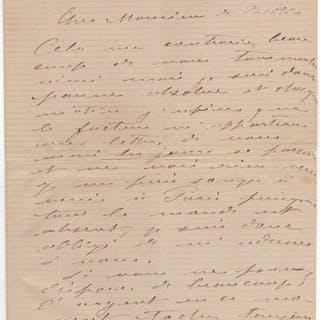 Autograph letter signed re: much needed money donation Monet