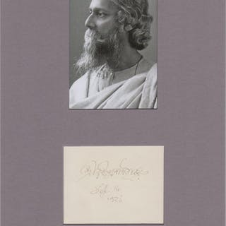 Fine ink signature matted with photograph Tagore