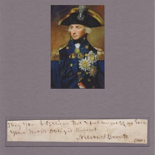 Autograph note signed matted with photograph Nelson, Horatio (1758-1805) History