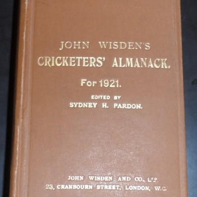John Wisden's Cricketers' Almanack for 1921 - 1921 Original Hardback Wisden