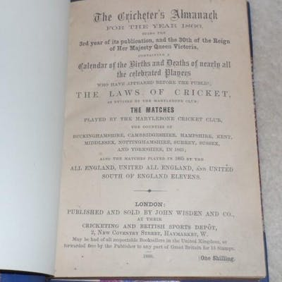 John Wisden's Cricketers' Almanack for 1866 - 1866 Wisden...