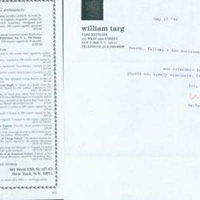 TLS William Targ to Herb Yellin
