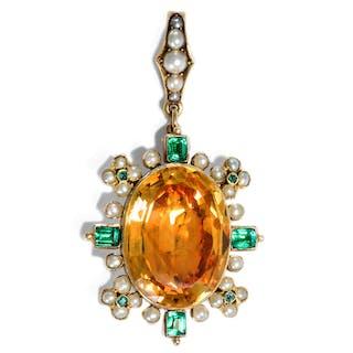 Wohlerhaltener Anhänger mit großem Citrin, Perlen & Glaspasten in Gold, um 1820