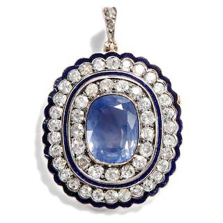 Unbehandelter 11,8 ct Ceylon-Saphir und Diamanten als Brosche & Anhänger