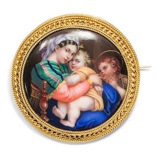 Raffaels Madonna della Seggiola in Emailmalerei und Gold, um 1870