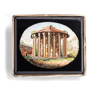 Brosche mit Mikromosaik aus Rom, entstanden um 1850