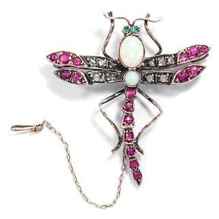 Libellenbrosche der Belle Époque mit Opalen, Smaragden, Rubinen &
