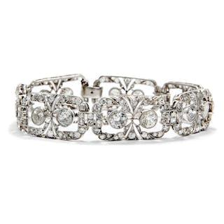 Außerordentliches Armband des Art Déco mit 11,35 ct Diamanten in Platin
