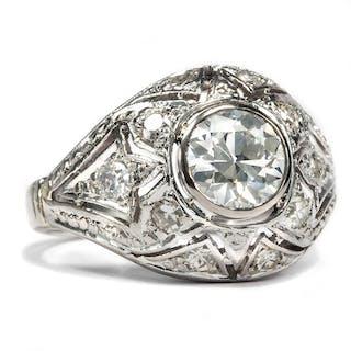 Traumhafter 0,95 ct Altschliff-Diamant in einem Platinring des Art