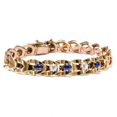 Prachtvolles Saphir- & Diamant-Armband in Gold, 1890er Jahre