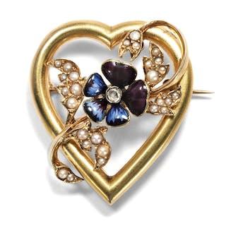Viktorianische Herz-Brosche mit Perlen, Diamant und Email, um 1890